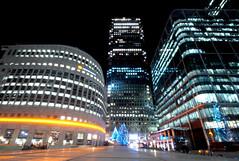 Evening at Canary Wharf (Serge Freeman) Tags: canarywharf london england uk greatbritain businesscentre evening night christmas christmaslights longexposure nightlights nightlife wideangle urban