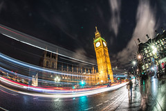 Big Ben at night (Brieuc.Baillot) Tags: london uk britain greatbritain uniteedkingdom londres 2017 night photography nightphotography street streetphotography city capitale europe exposure longexposure single singleexposure trails light lighttrails bridge travel nikon d600 nikond600 sigma 15mm fisheye sigma15mm sigma15mmf28 f28 westminster parliament trafic people wide wideangle