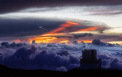 Above the clouds (marko.erman) Tags: hawaii big island usa united states sony archipel mauna kea observatory summit top peak mountain science giants telescope subaru sky skyscape panorama pov sunset clouds horizon outside nuage ciel extérieur maunakea unitedstates