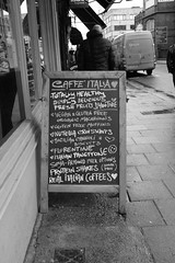 Coffee? (alsib) Tags: coffee blackandwhite monochrome chalkboard fujix100f outdoor streetphotography