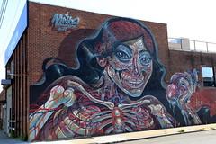 nychos (Luna Park) Tags: ny nyc newyork brooklyn mural lunapark streetart girl nychos skeleton heart