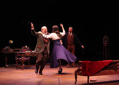 (L to R) William Parry as Colonel Pickering, Glory Crampton as Eliza Doolittle and Paul Schoeffler as Henry Higgins in My Fair Lady, produced by Music Circus at the Wells Fargo Pavilion June 9-14, 2015. Photos by Charr Crail.