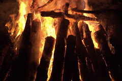 lilac log fire 2 (Justin van Damme) Tags: orange green night outdoors fire log resort manitoba lilac bonfire