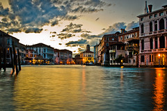 The Grand Canal (lindsayhwilson) Tags: longexposure venice houses sunset sky sun water clouds reflections lights riverside venezia grandcanal
