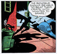 The Batmobile should be able to beat their crate with minutes to spare! (Tom Simpson) Tags: robin illustration vintage comics newspaper 1940s batman comicstrip batmobile 1945 boywonder