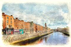 Dublin Watercolour (sbox) Tags: dublin ireland watercolour digitalwatercolour digitalpainting digitalart declanod sbox textures quays river liffey arranquay