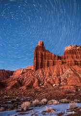 Chimney Rock and Star Trails (Shi Yu) Tags: shiyuphotographyyushiphotographysunstonephotography capitolreef chimneyrock stars startrails red rocks snow blue nationalparks