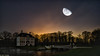 Hot and cold (Sucherauge) Tags: moon stars heaven building doubleexposure architecture house night nightshot cold hot castles palaces houses outdoor manorhouses statelyhomes cottages castlespalacesmanorhousesstatelyhomescottages
