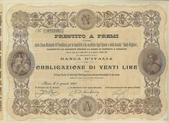 PRESTITO A PREMI CASSA NAZ. DI PREVIDENZA (scripofilia) Tags: 1905 cassa nazionale obbligazioni prestitoapremi previdenza