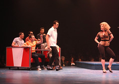 Brandon Albright and Kirsten Scott as Danny and Sandy in the Music Circus production of Grease June 26 through July 1, 2012. Photo by Charr Crail.