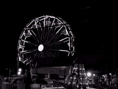 The Circus is in Town (DeeAshley) Tags: longexposure nightphotography motion monochrome night dark mono noche texas fair monotone nighttime slowshutter ferriswheel amusementpark grapevine unedited 2014 grapevinetx deeashley