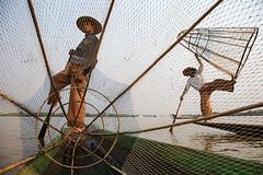 Fishermen - Inle Lake, Myanmar (Maciej Dakowicz) Tags: travel lake net boat fishing fisherman asia fishermen burma myanmar inlelake inle passionshots