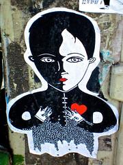 Street Art, Paris, France (Robby Virus) Tags: street city paris france art french person europe european heart human francais cityoflights