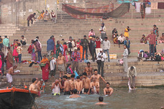 Bathers (saish746) Tags: city morning people woman sun india man men heritage history girl river naked nude temple death boat women worship breast place riverside outdoor indian avatar lord holy experience sacred varanasi hanuman bathing shiva sublime hindu hinduism dip kashi oldest ganga asi ganges pradesh cremation ghats banaras aarti pilgrims benaras ghat kedar uttar kaal bihar vishwanath dasaswamedh manikarnika bhairav harishchandra dasaswameth