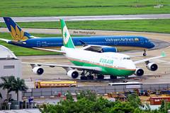 A350 vs B747 (Nutthanun.B) Tags: new old airplane airport aviation air vietnam airbus boeing airways airlines legend boeing747 vietnamairlines taxiing evaair goldenlotus staralliance skyteam airspotter tansonnhatairport a350xwb