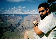 Chad and Floyd at Grand Canyon, Sept. 2003 (EllenJo) Tags: cheapplasticcamera 35mm lomo ellenjoroberts ellenjo puppyfloyd floyd puppy chad grandcanyon southrim 2003 arizona grandcanyonnationalpark brightangel