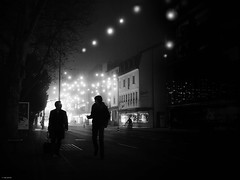 You're right! (René Mollet) Tags: fog foggy night nightshot ©renémollet renémollet blackandwhite bw monchrom monochromphotographie street streetphotography shadow silhouette aarau chrimas xmaslights