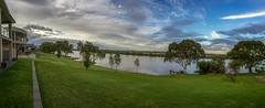 The Calm Before the Storm that wasn't (*ScottyO*) Tags: murraybridge whitesands murrayriver sa southaustralia australia river riverbank houses mansions trees water sky clouds blue green panorama landscape riverscape bricks golden hour evening stormy dusk outdoor summer