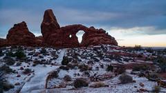 Arches National Park - Moab, Utah. Taken with the LG G5. 87/100 2016 (Bikkogin) Tags: 100xthe2016edition 100x2016 image87100 lgg5 archesnationalpark utah snow winter turretarch desert sandstone