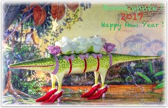 Crocodile de nouvel-An 🐊 New Year crocodile 🎉 (www.nathalie-chatelain-images.ch) Tags: nouvelan newyear crocodile forêttropicale rainforest 2017 voeux wishes chaussures shoes fête party nikon peinture painting affiche poster fabuleuseenfêtesf