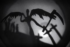 Death (stephanie_ruebenach) Tags: canon papercraft paper papier bw black white schwarzweis roll toilet klopapierrolle miniatur miniature angel death engel tod cemetary friedhof
