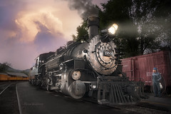 On-Time Arrival (Pragmatic1111) Tags: arrival station colorado silverton durango narrowgauge railroad engine workman tracks traintracks sunset storm thunderstorm lamp 480 headlight steam evening pink purple engineer headlamp