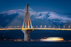 Blue Hour (Christophe_A) Tags: rio bridge patra greece cinematic blue hour long exposure nikon d800 180mm christophe christopheanagnostopoulos colorful snow mountains winter water trail lights