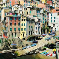 Manarola, Italy - Prisma filter (Randy Durrum) Tags: italy cinque terre prisma harbor pier dock durrum manarola liguria kayak kayaks canoe canoes rowboats rowboat