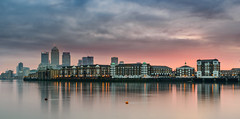 Morning Colours (Aleem Yousaf) Tags: soft moring colours graduated neutral density filter lee long exposure canary wharf sunrise river thames path reflections windeangle 1835mm nikon d800 photo walk landscape cityscape skyline docklands thick clouds sky architecture water waterfront outdoor building
