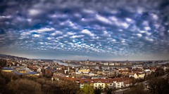 View of Budapest from fisherman's bastion. (Vagelis Pikoulas) Tags: budapest buda pest hungary panorama panoramic view landscape europe travel november 2016 autumn tokina 1628mm sky clouds cloud cloudy dramatic city cityscape danube parliament fishermen bastion
