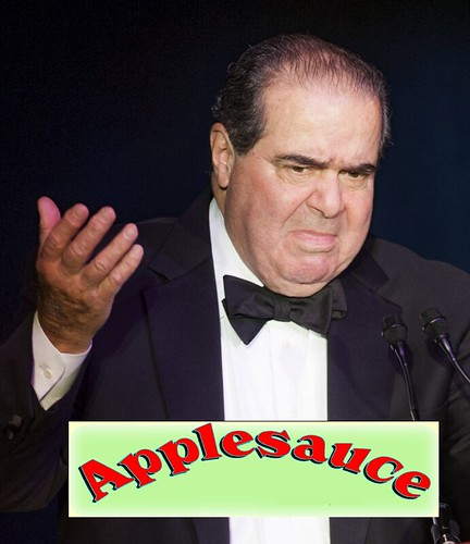 From flickr.com: Scalia Dissent.  The applesauce didn't taste good.  It just wasn't original enough for him. {MID-197499}