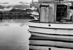 Boats, Mountains, and Rain (mfenne) Tags: leica mountain reflection water monochrome alaska landscape boat images marlowe sitka fenne drala