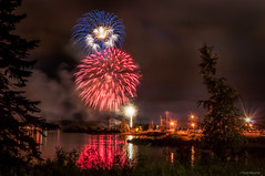 Canada Day Fireworks (murf50) Tags: nightphotography lake holiday ontario nature water fireworks georgianbay explosion canadaday owensound paulmurphy refections otherkeywords