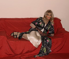 Sabrina's nightgown outfit (sabrinamueller789) Tags: tgirl tranny satin crossdresser nightgown femalemask