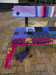 Close knit (Fraser P) Tags: street newzealand cute art wool public bench weird knitting funny seat craft wellington knitted quaint coloured quirky decorated guerrillaknitting