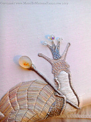 The Queen of Snails (MotherEagle) Tags: art mushroom hand embroidery snail queen crown toadstool freehand embroidered stumpwork couching goldwork satinstitch mothereagle metalthreadwork destoyingangel