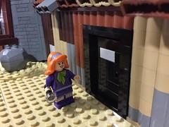 Daphne investigates the shed (Black Hole of Lego) Tags: lighthouse lego modified scoobydoo 1972 moc expanded towerofevil britishhorror