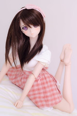 DSC_9815 (Nekoconeco) Tags: volks dd dddy dollfie dream dollfiedream ドルフィードリーム photo kano photokano フォトカノ haruka niimi harukaniimi 新見 遙佳 pink plaid flaired skirt