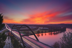 Sunset over 360 (Rajesh Jyothiswaran) Tags: 360bridge a7rii austin bridge cityscape colorful fe1635f4 ilce7rm2 ladybugfarm light longexposure pennybacker pennybackerbridge reflection sky sony sunset texas traffic trails water autumn color fallcolors iconic lake landscape road serene sun trees