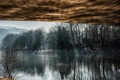 unter der Brücke - under the bridge (mniesemann) Tags: ifttt 500px brücke bridge sunset river water fluss wasser bäume reflektion essen nebel abendsonne nikon d810