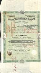 CASSA MARITTIMA DI NAPOLI (scripofilia) Tags: 1884 azioni cassa cassamarittimadinapoli marittima napoli