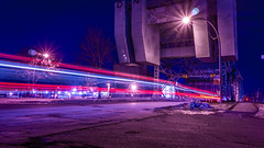 Lights Under Bridge (Mirror//Less) Tags: lasalle montreal canada bridge light low timelapse neon 1650mm e sony nex7 outside winter cold cars bus night f10 iso 100 18mm slow shutter