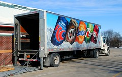 Soda Pop Delivery, Burlington Wisconsin (Cragin Spring) Tags: midwest wisconsin wi unitedstates usa unitedstatesofamerica soda pop sodapop deliverytruck truck tractortrailer rootbeer awrootbeer sodacans rc rccola royalcrowncola sunkist orange 7up drpepper burlington burlingtonwi burlingtonwisconsin kwiktrip drpeppersnapplegroup snapple
