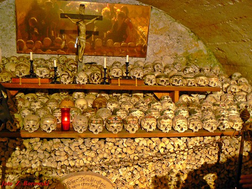 Hallstatt - collection of skulls in cemetery chapel
