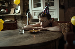 sad b-day (wersjatestowa) Tags: yellow bday birthday candle sad triangle baloons table woman eyes