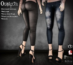 Oubliette- Distressed Skinnies (Oubliette SL) Tags: sl second life alt goth gothic witch wicca fantasy roleplay jeans denim distressed ripped skinny mesh maitreya belleza slink classic fashion clothes clothing oubliette