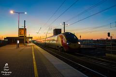 DSC_0003 (John Floyd Photography) Tags: wigan england unitedkingdom gb virgin virgintrains 390 class390 pendolino wcml wigannorthwestern electric trains sunrise