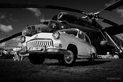 Sky Dreams. M21 & Mi-6 (Rawcar.com Photography) Tags: raw rawcar rawcarcom automotive automobile photography classic motorsports car vehicle auto transport transportation world cars photo art gaz gaz21 m21 volga wolga volha helicopter heli mi6 soviet