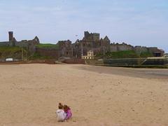 Peel Castle on the Isle of Man (helenoftheways) Tags: peelcastle isleofman vikings beach children turret irishsea sand flag