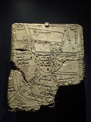Babylonian cuneiform tablet with a map from Nippur 1500-1155 BCE (mharrsch) Tags: washingtondc ancient map iraq exhibit communication artifact tablet cuneiform babylon nationalgeographic babylonian nationalgeographicmuseum nippur 12thcenturybce 14thcenturybce 13thcenturybce mharrsch indianajonesandtheadventureofarchaeology